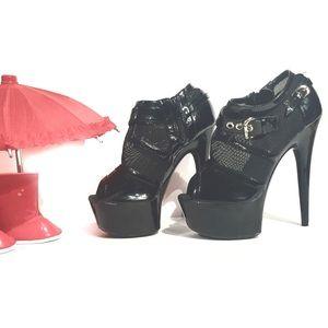 """Highest Heel Sexy 6"""" Stiletto Platform Black Mesh"""
